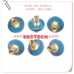 DT20, 102, high voltage small button capacitor, 3KV/1000PF